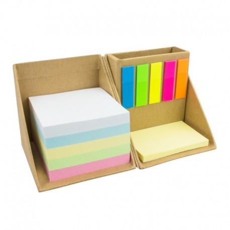 Cubo com notas adesivas e porta-esferográficas em cartão