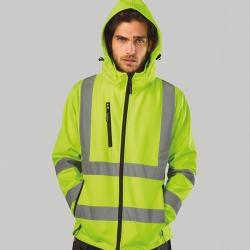 ZAGREB WORK Casaco softshell de alta-visibilidade para homem, com capuz removível