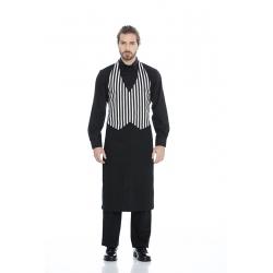 Avental-colete em sarja estampada poliéster-algodão