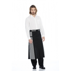Avental de cintura em sarja poliéster-algodão com ilhós