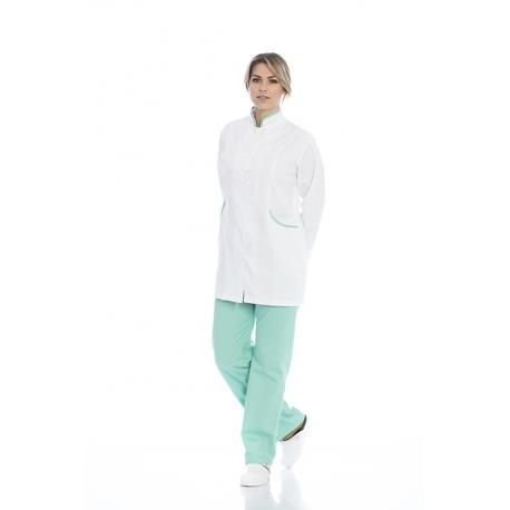 Bata senhora em sarja poliéster-algodão de manga comprida