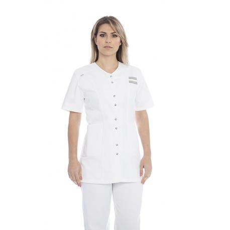 Bata senhora em sarja poliéster-algodão de manga curta