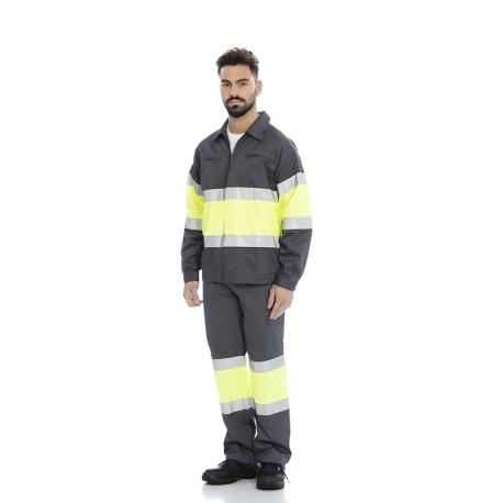 Blusão em sarja poliéster-algodão alta visibilidade c/ fitas refletoras