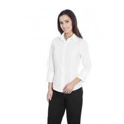 Blusa de senhora em cambraia poliéster-algodão de manga comprida