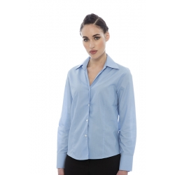Blusa de senhora em cambraia poliéster-algodão de manga curta