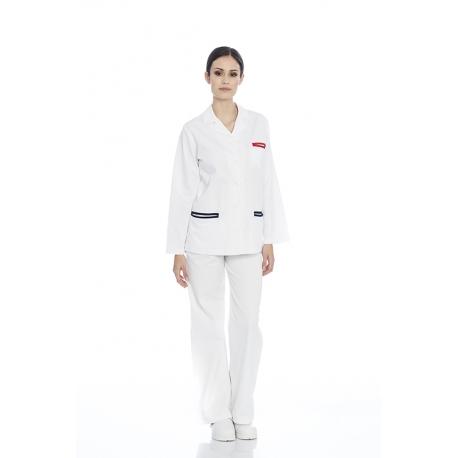 Casaco senhora em sarja poliéster-algodão de manga comprida