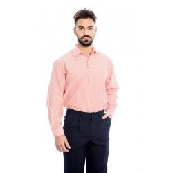 Camisa homem em risca poliéster-algodão de manga comprida