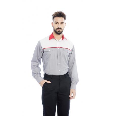 Camisa em cambraia poliéster-algodão de manga comprida