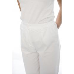 Calça senhora com fecho e elástico em sarja poliéster-algodão