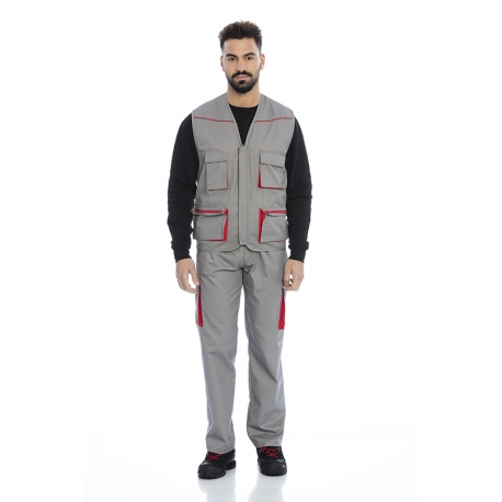 Calça homem bolsos nas pernas em sarja poliéster-algodão