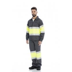 Calça em sarja poliéster-algodão alta visibilidade c/ fitas refletoras