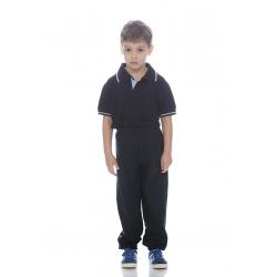 Calça de criança em felpa italiana sem carda poliéster-algodão