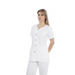Túnica senhora em sarja poliéster-algodão de manga curta