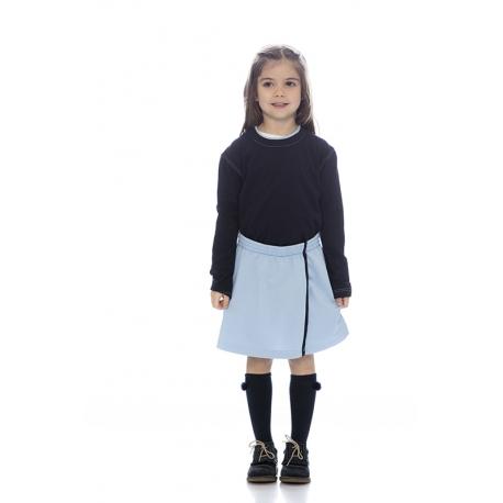 T-shirt menina em malha jersey poliéster-algodão algodão manga comprida