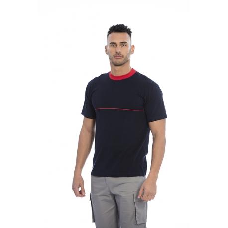 T-shirt homem em malha jersey poliéster-algodão com contrastes