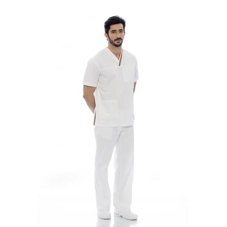 Túnica homem em sarja poliéster-algodão de manga curta