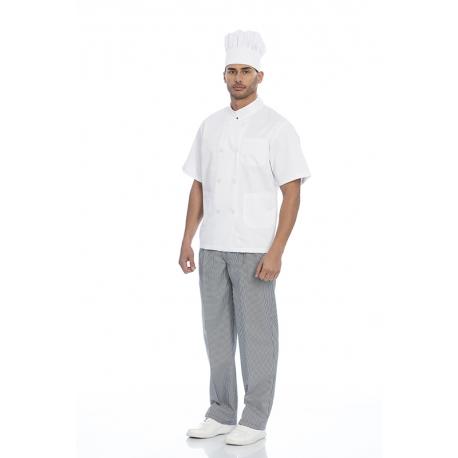 Jaleca cozinheiro em sarja poliéster-algodão de manga comprida