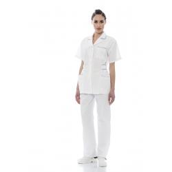 Túnica senhora em sarja poliéster-algodão de manga comprida