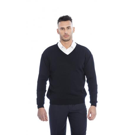 Pullover homem em malha lã merino-acrilico