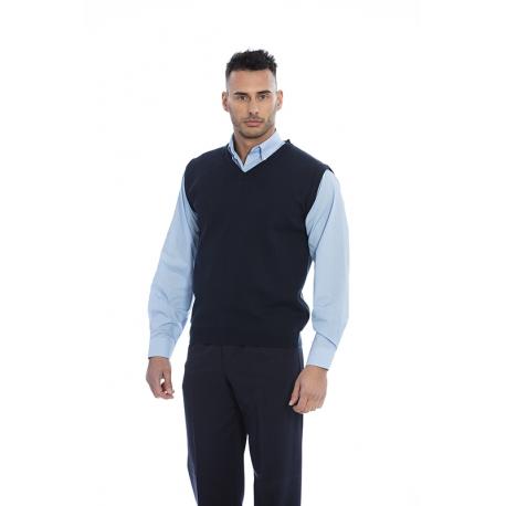 Pullover homem em malha lã merino-acrilico sem mangas