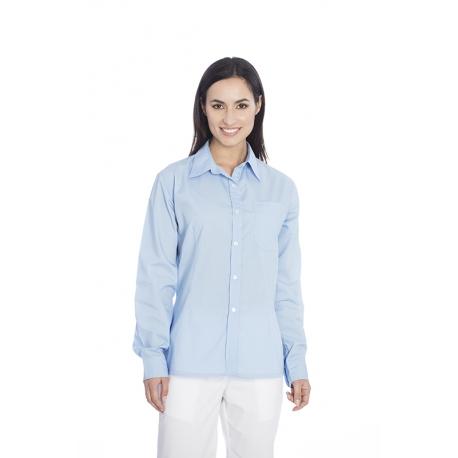 Camisa senhora em cambraia poliéster-algodão de manga comprida