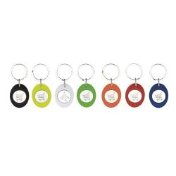 Porta-chaves oval com ficha € 1,00 para carrinho