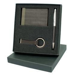 Conjunto com porta-cartões em PU e metal, em caixa oferta
