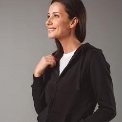 AMSTERDAM WOMEN. Sweatshirt para senhora, com fecho e capuz.