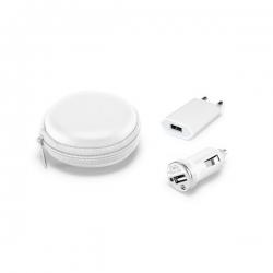 Conjunto de carregadores USB.