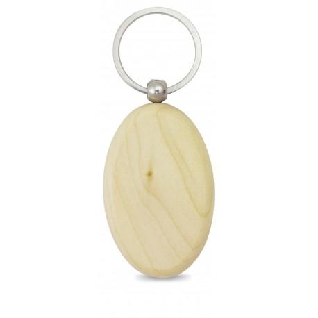 Porta-chaves oval em madeira