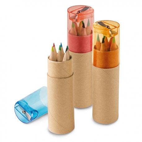 Caixa com 6 lápis de cor.