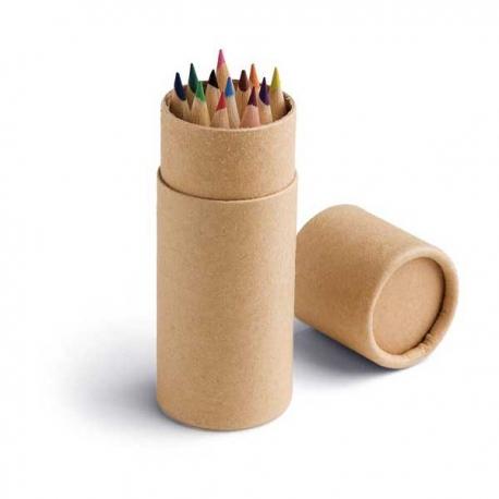 Caixa com 12 lápis de cor.