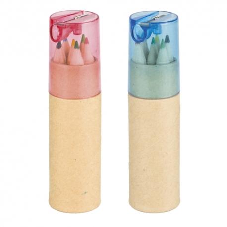 Conjunto de 6 lápis de cor com afia