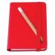 Bloco de notas, capa em cartão e lápis