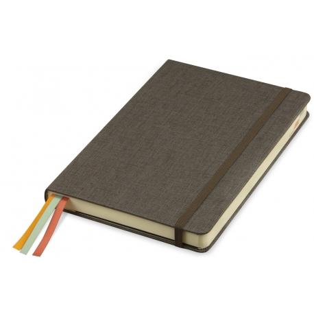 Bloco de notas, capa em cartão forrado a linho com 3 separadores de cetim e bolsa