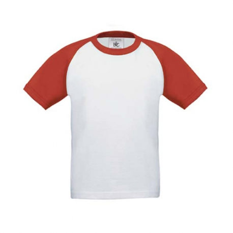 T-shirt B&C Base-Ball Kids 185g - 100% Algodão