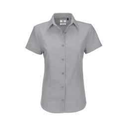 Camisa Manga Curta B&C Oxford Senhora - 70% Algodão escovado / 30% Poliéster
