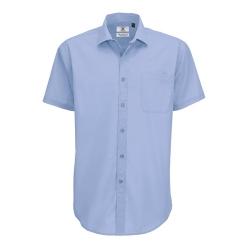 Camisa Manga Curta B&C Smart Homem - 65% Poliéster / 35% Algodão escovado - Popeline