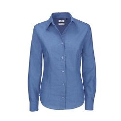 Camisa Manga Comprida B&C Oxford Senhora - 70% Algodão escovado / 30% Poliéster