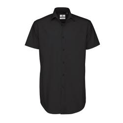 Camisa Manga Curta B&C Black Tie Homem - 97% Algodão escovado / 3% Elastano - Popeline