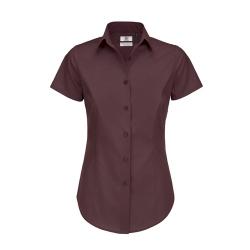 Camisa Manga Curta B&C Black Tie Senhora - 97% Algodão escovado / 3% Elastano - Popeline