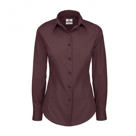 Camisa Manga Comprida B&C Black Tie Senhora - 97% Algodão escovado / 3% Elastano - Popeline