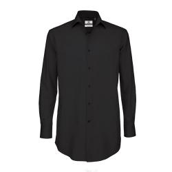 Camisa Manga Comprida B&C Black Tie Homem - 97% Algodão escovado / 3% Elastano - Popeline