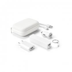 Conjunto de bateria e carregadores USB.