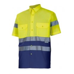Camisa bicolor alta visibilidade manga curta
