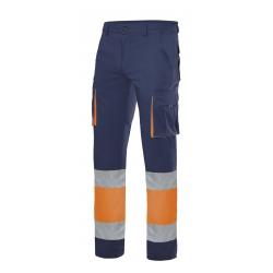 Calças 100% algodão bicolor multibolsos alta visibilidade