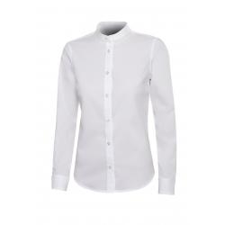 Camisa gola mao stretch manga comprida mulher
