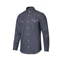 Camisa denim stretch manga comprida homem