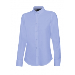 Camisa oxford stretch manga comprida mulher