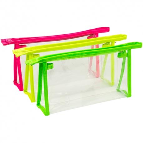 Necessaire em PVC transparente, com detalhes néon